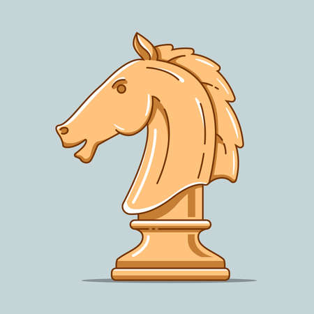 wooden chess piece of horse. intellectual game. strategic thinking. flat vector illustration Çizim