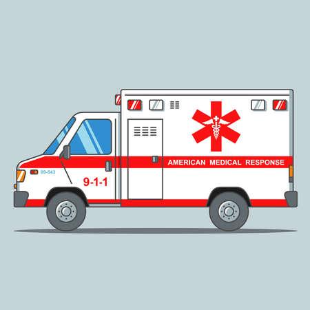 American ambulance on a gray background. flat vector illustration. Illustration