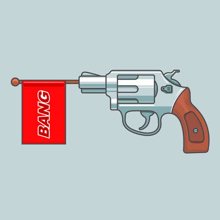 gun bang. comic game. raffle man. flat vector illustration.  イラスト・ベクター素材