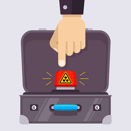open suitcase with a red nuclear button. hand with a finger clicks on the launch of a nuclear weapon. flat vector illustration.
