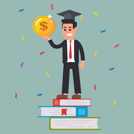 successful student with a coin in his hands. training. flat vector character Illusztráció