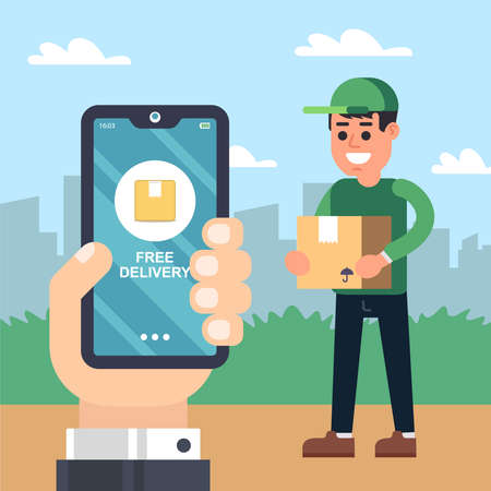 courier delivery service. hand with the phone. tracking goods in the application. flat vector illustration.