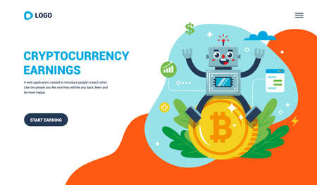 Landing page for working with bitcoin. joyful robot sitting on a coin. flat vector illustration. Иллюстрация
