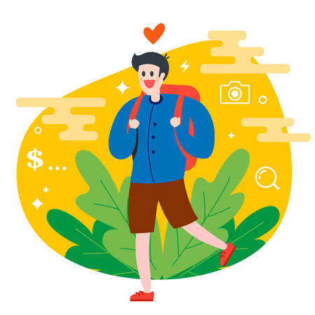tourist traveler is walking in nature with a backpack. Flat character vector illustration.