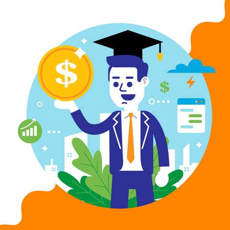 young man with a coin in his hands. getting higher education. successful career. flat vector illustration. Illusztráció