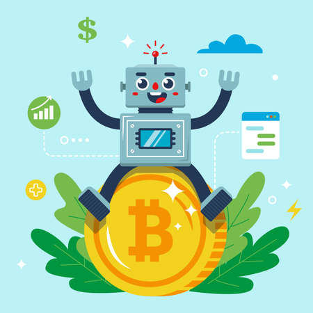 the robot is sitting on a bitcoin coin. Flat character vector illustration.