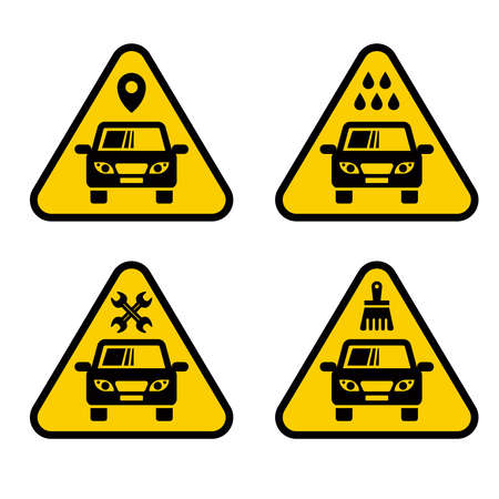 set of signs for car service. yellow plate on a white background.