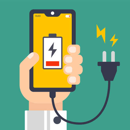 hand holds a discharged cell phone. cord for charging. flat vector illustration. Stock Illustratie