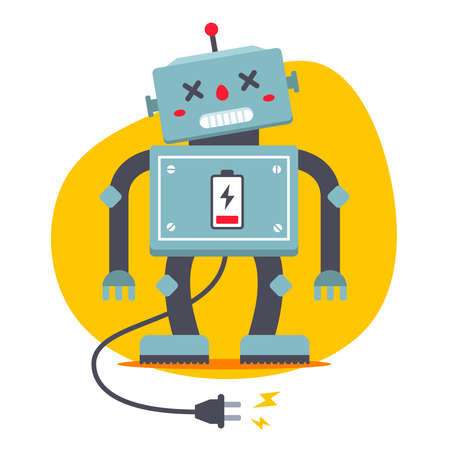 the robot is unplugged. need to recharge. electrical starvation. flat vector character.