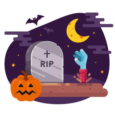 die Auferstehung der Toten aus dem Grab. Illustration für Halloween. flaches Vektorbild.