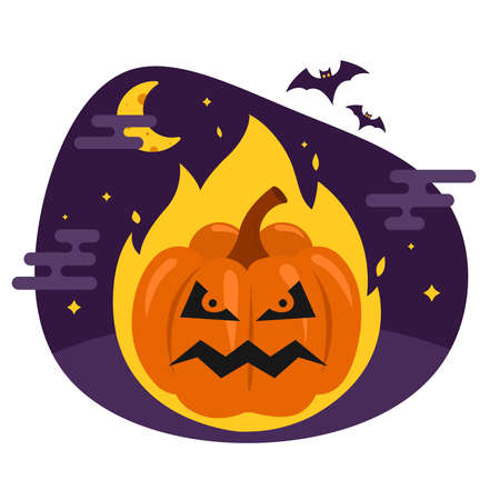 hellish pumpkin for halloween. evil vegetable burns in the fire. flat illustration.