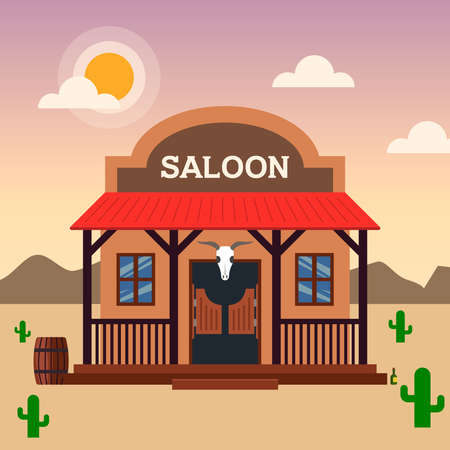 Saloon building in the wild west. architecture of old america. flat illustration.