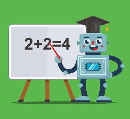 Le professeur de robot enseigne aux enfants en classe. école du futur. illustration vectorielle plane. Vecteurs