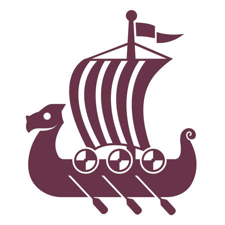 black viking ship icon with sail and oars. flat vector illustration.