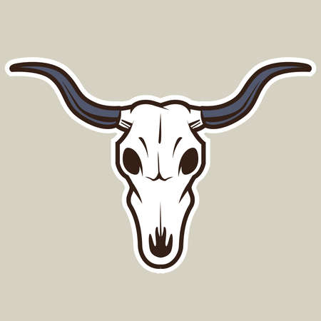 buffalo skull on a gray background. symbol of the wild west. flat vector illustration.