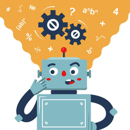 the robot ponders the solution to the problem. the thinking process of the machine. flat vector character.