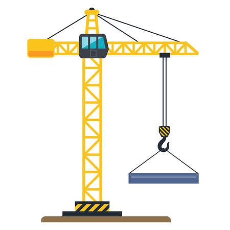 Une grue jaune de construction soulève une charge. illustration vectorielle plane.