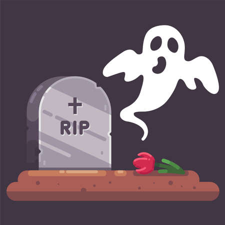 old gravestone with a ghost. scary cemetery at night. Flat vector illustration for Halloween. Ilustração