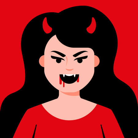 Devil girl with horns and sharp teeth with blood near the mouth. Flat character vector illustration. 일러스트