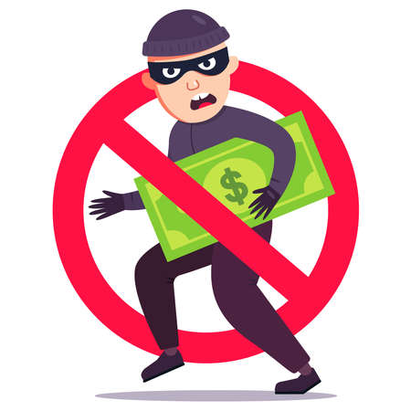 unsuccessful theft of money. crossed out burglar sign with dollar bill. flat vector illustration. Ilustrace
