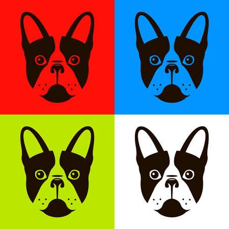 Französische Bulldogge in vier verschiedenen Farbschemata. Flache Vektorillustration eines Hundes.