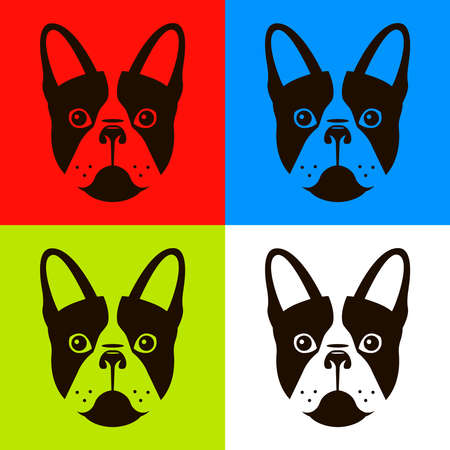 french bulldog in four different color schemes. Flat vector illustration of a dog.