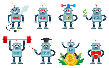 set with works on a white background. different professions and characters of living machines. Angry, kind, loving, working. flat character vector illustration