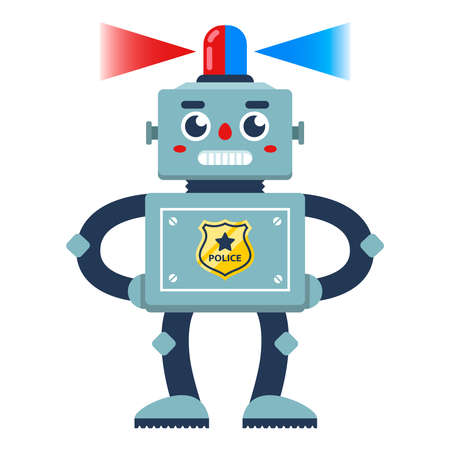 a policeman robot with a flasher on his head patrolling the area. flat character vector illustration 向量圖像