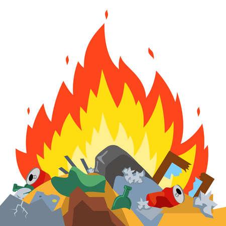 burn garbage at the landfill. harmful emissions. environmental damage. Flat vector illustration.