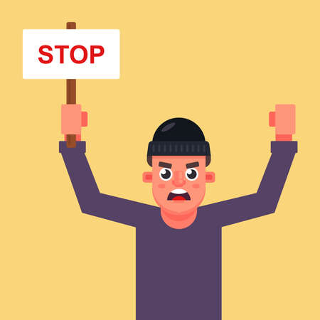 male protester with a poster in his hands with the inscription stop. Flat character vector illustration.