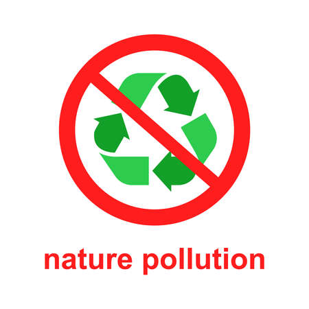 waste prohibition sign. Flat vector illustration of environmental issues. Stock Illustratie