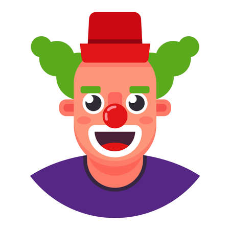 funny clown. the head is smiling. Flat character vector illustration.