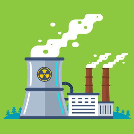 Planta radiactiva con tubería. producción de energía barata. ilustración vectorial plana.