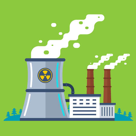 radioactive plant with a pipe. cheap energy production. flat vector illustration.