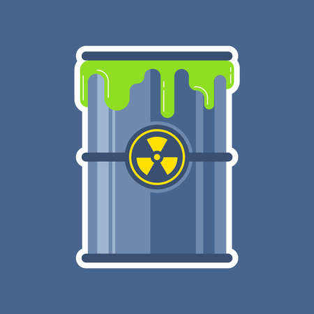 estrus from a barrel of nuclear waste. flat vector illustration.