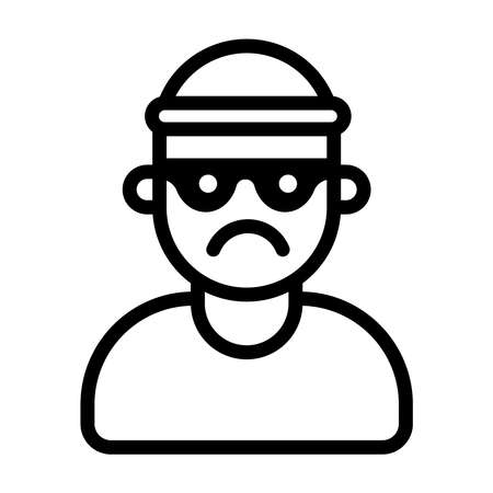 icon of a bandit in a mask and hat. flat vector pictogram.