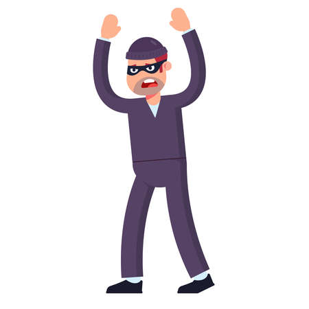 thief surrenders raises his hands up. captured at the crime scene. flat vector illustration