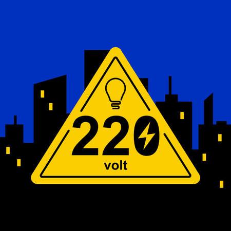 żółty trójkątny znak 220 woltów na tle nocnego miasta. ilustracja wektorowa płaskie.