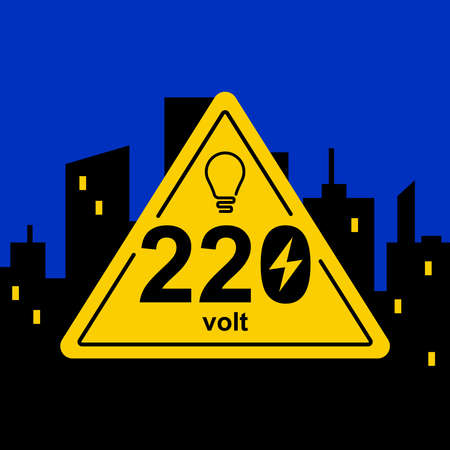 yellow triangular sign of 220 volts against the background of the night city. flat vector illustration.