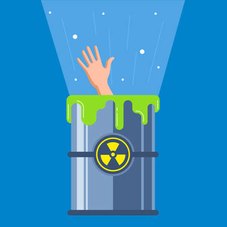 man fell into a radioactive container. character mutation. flat vector illustration.