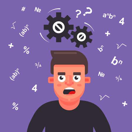 man thinks over a math problem. gears creak overhead. flat vector illustration.