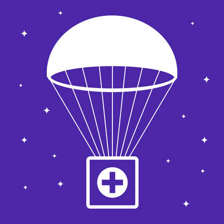 first aid kit falls by parachute. social help. flat vector illustration.