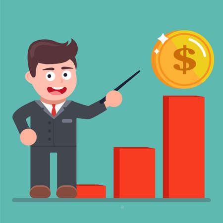graphiques de croissance des revenus en espèces. le gestionnaire pointe vers un graphique. illustration vectorielle plane.
