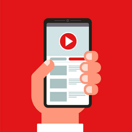 hand holds a mobile phone. watching videos in the application. flat vector illustration