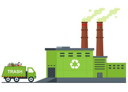 Müllaufbereitungsanlage. Müllwagen fährt mit Abfall. flache Vektorillustration.