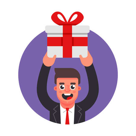 manager gives a gift. celebration in the office. Flat character vector illustration. Ilustrace
