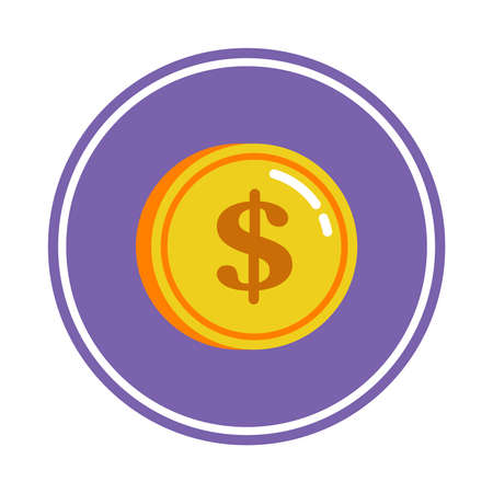 coin in purple circle on a white background