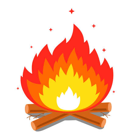 bonfire with a big flame and firewood on a white background. flat vector illustration