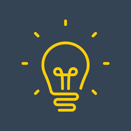 yellow light bulb from contour. new idea. flat vector illustration.
