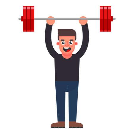 the man easily raises the bar. flat character vector illustration